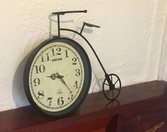 Antique or Vintage Style Victorian Penny-Farthing Model Bicycle With Modern Battery Clock