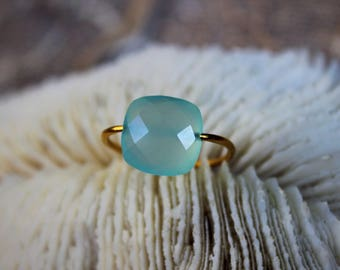 Yellow gold plated ring with an Aqua Blue chalcedony stone