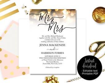 Printable Wedding Invitations, Wedding Invitation Printable, Wedding Template, Editable Wedding, Invitations Wedding, Gold Hearts INV-15