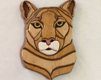 Mountain Lion Intarsia Carving