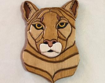 Mountain Lion Intarsia Carving