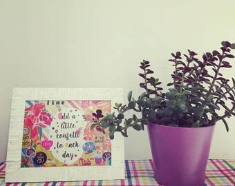 """Hand made frame with quote """"Add a little confetti to each day"""" 14x20 cm"""