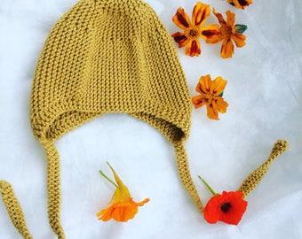 Mustard Yellow Knit Hat Newborn Vintage Style  Baby Bonnet Knitted Mustard Hat  Mustard Newborn Baby Bonnet Vintage Style Baby Hat