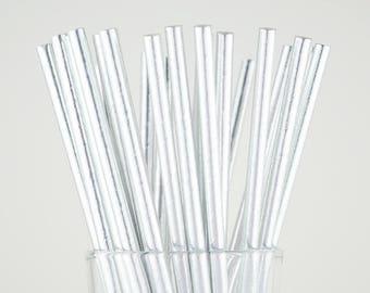 Silver Foil Paper Straws - Party Decor Supply - Cake Pop Sticks - Party Favor