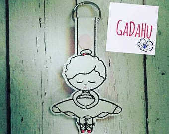 Cute Ballerina Fob Snap Tab Embroidery Design 4X4 size