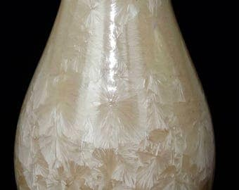 Tall Crystalline Glazed Vase. Porcelain Clay. Handmade. Pottery.