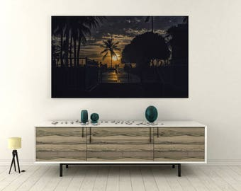Seascape Art, Sunset Photography, Large Ocean Print,Metal Wall print, Glass Print,Key west Miami,Beach Photography
