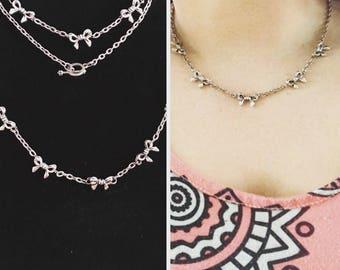Bow charm necklace and bracelet set