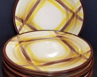 Vintage Vernonware Kilns Metlox Poppytrail ORGANDIE 70s Set of  10 Dinner Plates