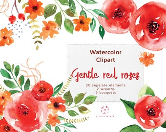 Watercolor Gentle Red Roses Clip Art Pack, Watercolor Flower elements, Hand drawn Flowers, Floral Clipart Set, Hand Painted Wedding graphics