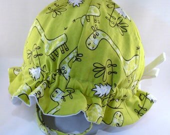 "Custom Cotton ""Grow-with-Me"" Sunhat - Adjustable Size - Flat or Ruffled Brim - Velcro Chin Strap"