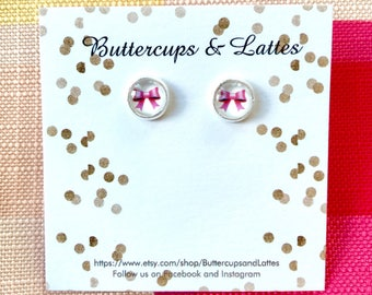 Small Pink Bow Stud Earrings 8mm
