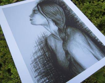 "Female Charcoal Portrait Art Print ""Tulip"""