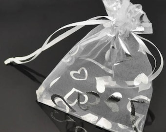 """Silver Heart Organza Bags, 3""""x4"""", Drawstring, Party or Wedding Favor Bags, Jewelry Bags, Sample Bags"""