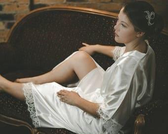 Long Satin and Lace Bridal Robe White