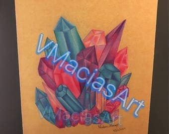 PRINT - Crystal Color Pencil Drawing