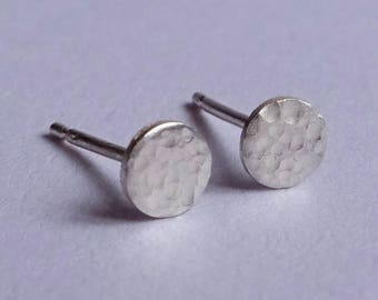 Small Silver Textured Disc Stud Earrings
