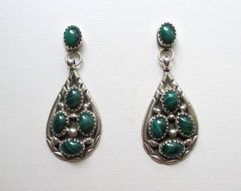 Artisan Sterling SIlver and Malachite Drop Earrings