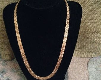 Gold Textured Square Necklace