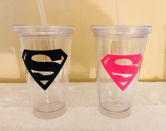 Superman Superwomen Tumbler-party favor-tumbler cups-superman party favors-superwomen party favors