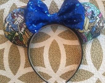 Beauty and The Beast Minnie Ears, Minnie Mouse Ears, Mickey Mouse Ears, Minnie Ears, Mickey Ears, Disney Ears, Belle Mickey Ears