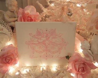 Shabby Chic Cherubs Canvas Print Pink Cherubs Love Reigns Canvas Print With Crystals