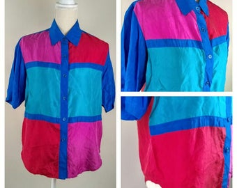 Vintage Multi Bright Color Block Silk Shirt Fresh Prince 80s 90s Elizabeth Terrell Shirt Size M