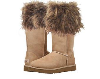 "Tan Faux Fur ""Boot Glove"" Shaggy FUR CUFF For Boots"