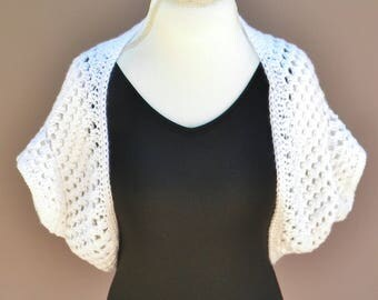 Crochet Shrug,  Crochet Bolero, Summer Shrug, Short Sleeve Shrug, White Shrug