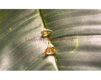 Tiny Delicate Gold Open Heart Stud Earrings