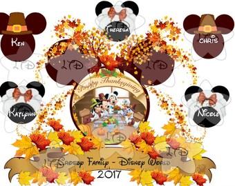 Mickey Thanksgiving Family Vacation Transfer , Digital Transfer , Digital Iron Ons , DIY