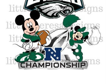 Mickey and Minnie Eagles or Patriots Football Division Champs Digital Image,Diy