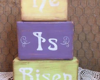 """Wooden Easter Block Set """"He Is Risen"""""""