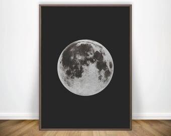Black Moon Prints • La Luna Print Black Prints Moon Phase Full Moon Poster Moon Wall Art Decor Moon Artwork Moon Art Moon Decor Full MOON