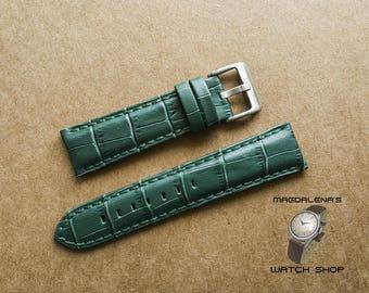Dark Green 22 mm Leather Watch Strap, 22 mm Genuine Leather Wrist Watch Band, Leather Watch Bands, Watchband, Crocodile Texture Watch Straps