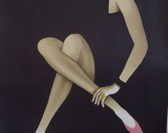 Silkscreen shoes Bally by Villemot advertising poster