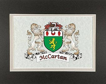 "McCartan Irish Coat of Arms Print - Frameable 9"" x 12"""