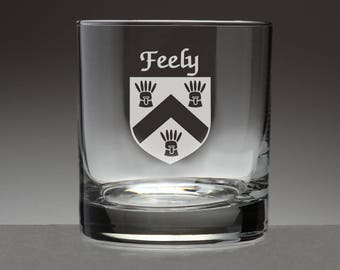 Feely Irish Coat of Arms Tumbler Glasses - Set of 4 (Sand Etched)