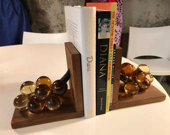 Vintage 1950's Gold Lucite Grape Bookends