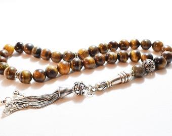 Tiger Eye, Tesbih, Islamic Prayer Beads, 33 Beads, Tasbih, Misbaha, Silver Tassel, مسبحة, Gemstone Tesbih, Prayer Beads, Gemstone Rosary