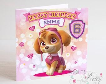 Paw Patrol Skye Personalised Birthday Card