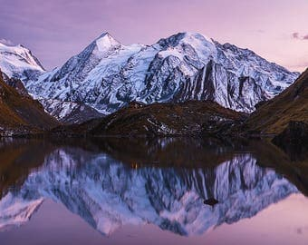 Large Alps Mountain Reflection Sunset Photography on Canvas 90cm x 60cm | mountain landscape panoramic canvas large alpenglow
