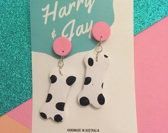 Dem Bones - pink (caramel scented earrings)
