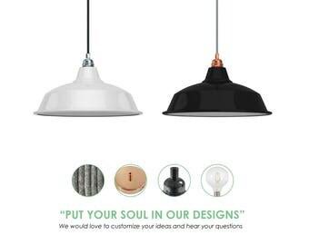Metal Shade Pendant Light. Vintage Pendant Light. Nordic Light Fixture. Enamel Metal Lampshade.
