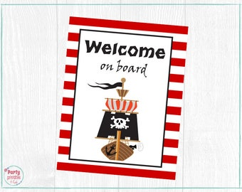 Pirate Welcome Sign, Pirate Poster , Pirate Center Piece, Printables, Printable PDF, Boy Birthday