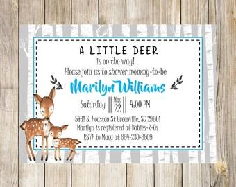 Woodland Boy Baby Shower Invitation, Deer, Fox, Raccoon