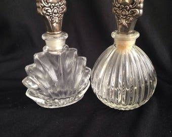 Two beautiful pressed glass perfume bottles, 1950.