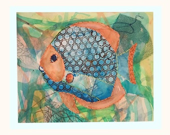 FISH Giclee with hand stitching, 8 1/2 x 10 1/2 FB1