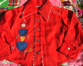 Vintage Kids Red with White Ric Rac Hearts and Flowers Patch Embroidery Pearl Snaps Long Sleeve Western Pointy Collar Toddler Baby Girls