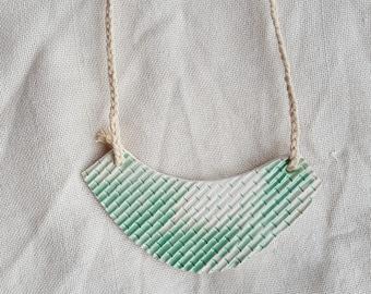 mint&white bib pendant textured bamboo